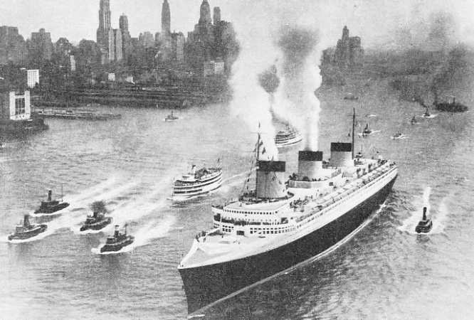 ARRIVAL AT NEW YORK of the Normandie