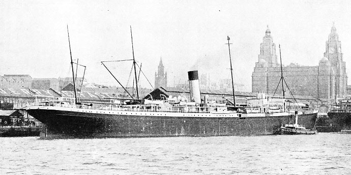 The reconditioned Suevic lying at the Liverpool Landing Stage in August, 1925