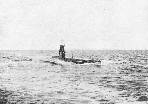 The submarine E 11 cruising along the surface