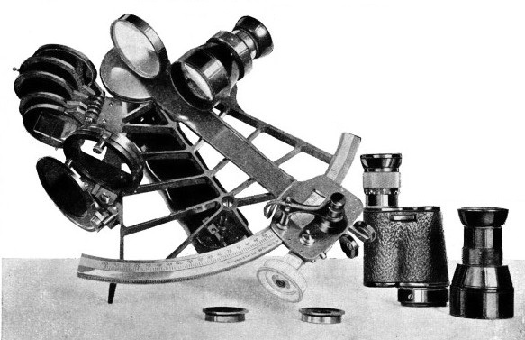 A SEXTANT FITTED WITH OBSERVING TELESCOPE AND SHADES