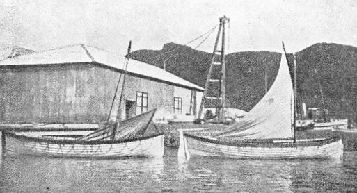 A photograph of the Trevessa's two boats at Mauritius