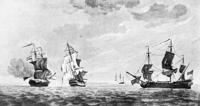 French and British Ships in Action