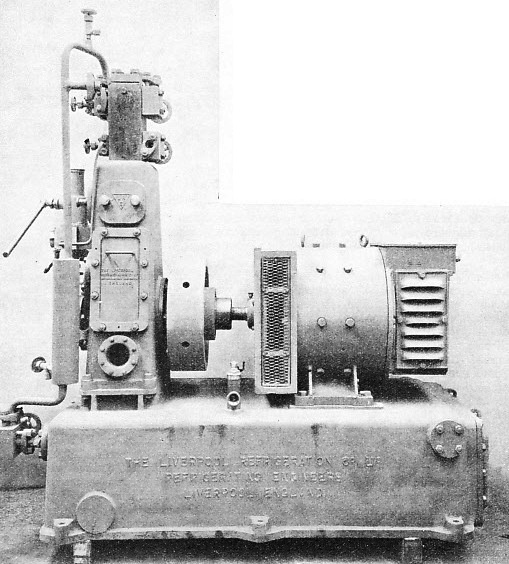 ELECTRICALLY DRIVEN VERTICAL COMPRESSOR of the type often used in refrigerated ships