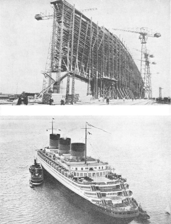 BUILDING THE GIANT HULL of the Normandie