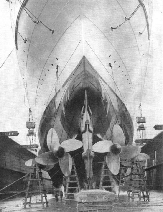 The four-bladed screws of the famous RMS Mauretania