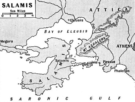 THE CRESCENT-SHAPED ISLAND of Salamis