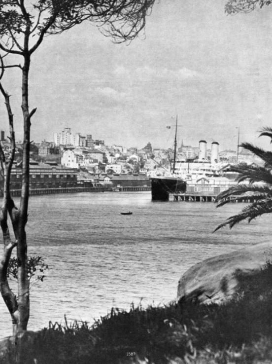 An Orient liner berthed in Woolloomooloo Bay, Sydney