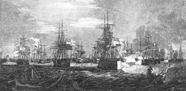 AT THE START Of THE BATTLE ten British ships engaged eight French ships