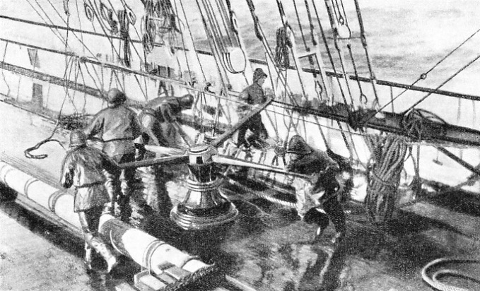 HAULING ON THE TOPSAIL HALYARDS was a heavy job