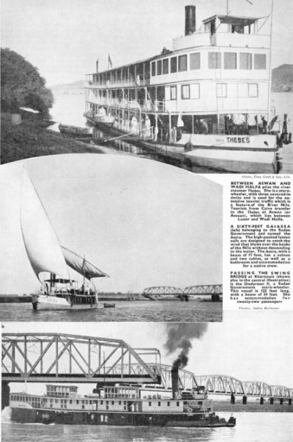 "River steamer ""Thebes"", a 60ft gaiassa ""Amira"", and the stern-wheeler ""Omdurman II"""