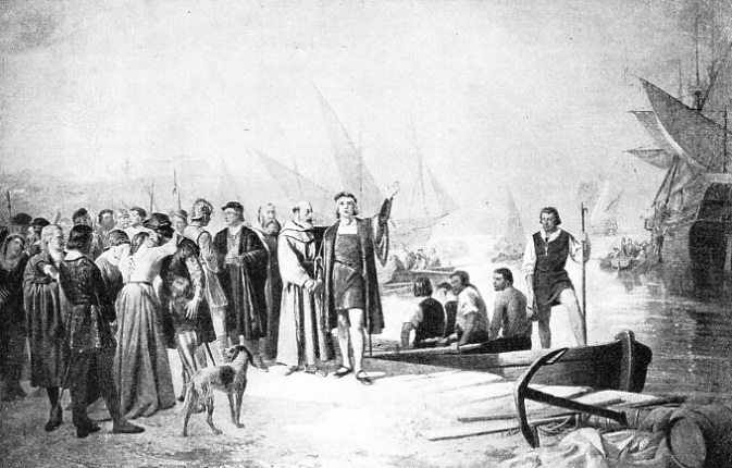 COLUMBUS LEAVING THE OLD WORLD on the famous voyage which discovered the New