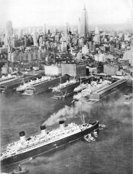 "The ""Berengaria"" approaching her berth in New York"