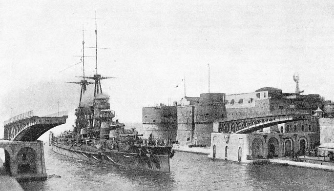 A photograph of the 24,000-tons Italian battleship Leonardo da Vinci leaving Taranto Harbour