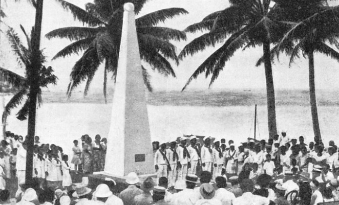A monument being unveiled in memory of Magellan, who discovered Guam in 1521