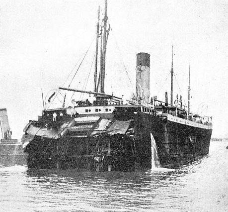 THE STERN OF THE SUEVIC being towed into Southampton Docks
