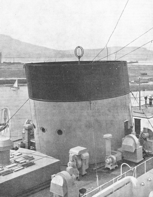 A wireless station is concealed in the dummy forward funnel of the Cunard White Star Liner Georgic