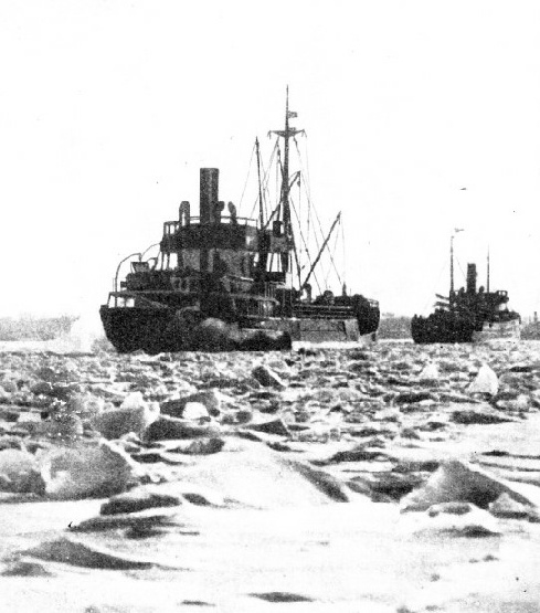 ICE-BREAKERS AT WORK on the River Elbe