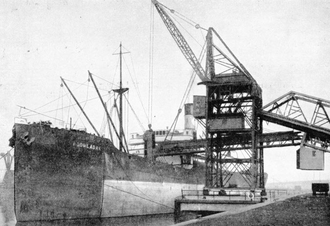 A modern coal-shipping appliance in use at Cardiff Dock