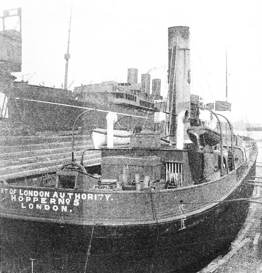 the Port of London Authority Hopper No. 5 refitting at Tilbury