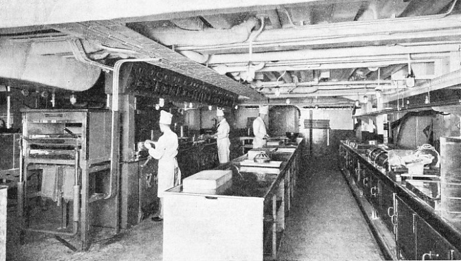 The modern kitchen in the P & O liner Strathmore