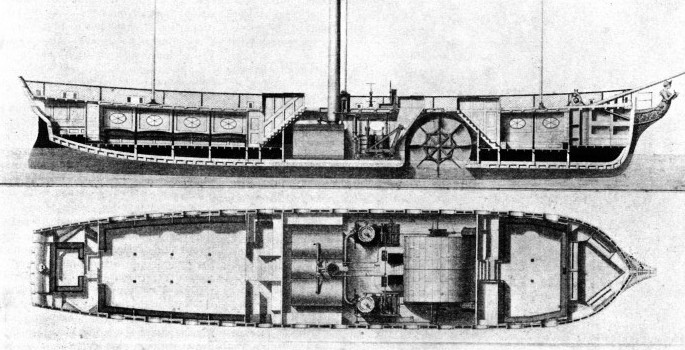 The paddle steamer London Engineer shown here in section