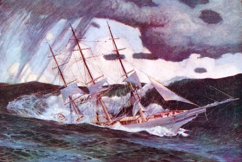 """Broached-to in heavy seas"" by Charles Pears"