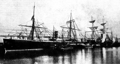 The ships Nevada and Abyssinia of the Guion Line at Liverpool docks