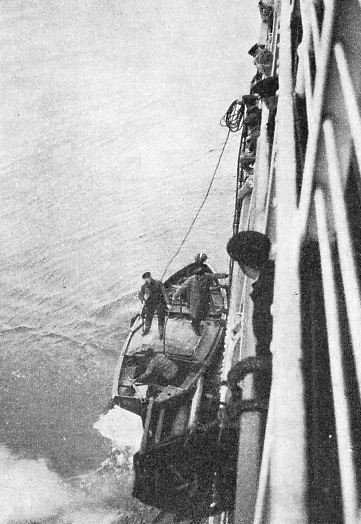 THE ELBE PILOT boarding a steamer off the German coast