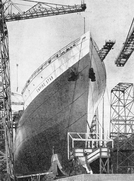 A bow view of the motor ship Empire Star, built at Belfast for the Blue Star Line in 1935