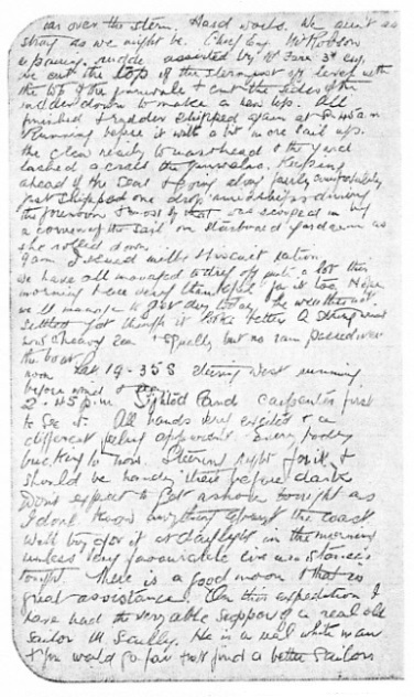 A page from the captain's log SS Trevessa