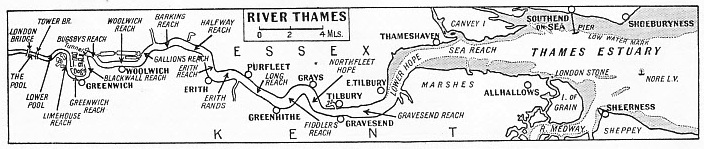 THE COURSE OF THE THAMES from the sea to London Bridge is indicated on this map