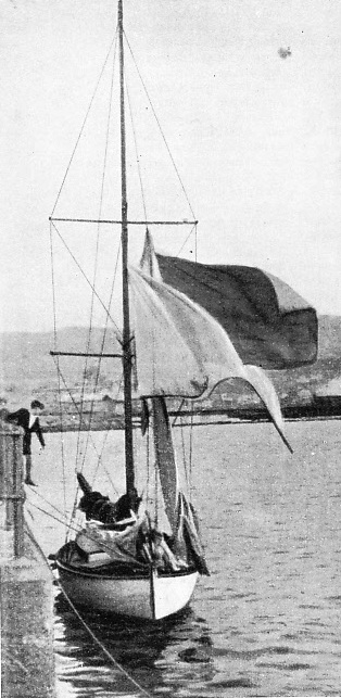 "Drying the sails of the ""Ahto I"" after a wet passage"
