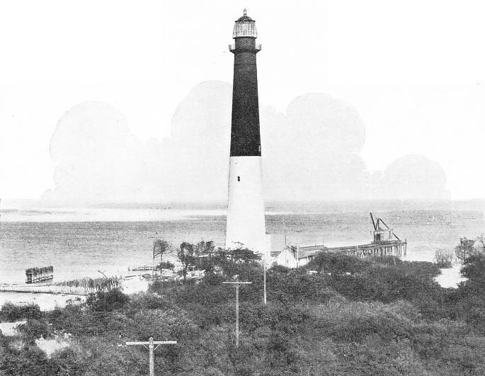 Barnegat Lighthouse is on the Atlantic seaboard of the United States of America