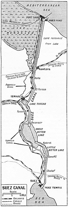 A PLAN OF THE SUEZ CANAL which shows all its chief features