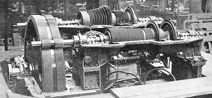 a set of turbines under construction for a cross-Channel steamer