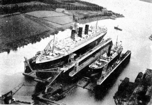 The French liner Paris in dry dock at Rotterdam