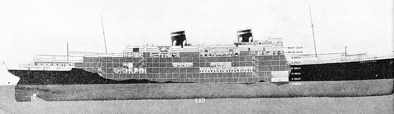 The eight passenger decks of the Manhattan are shown in this sketch