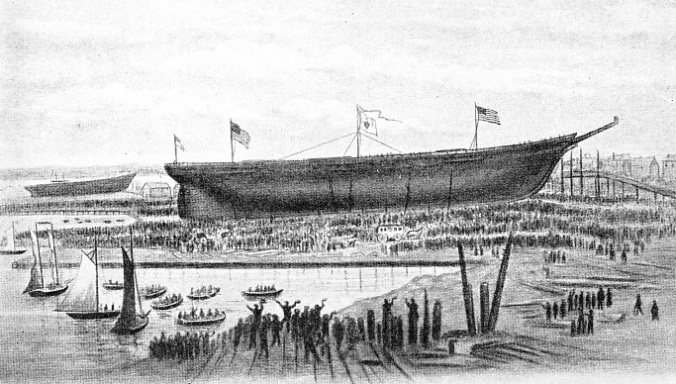 LAUNCH OF THE GREAT REPUBLIC at Donald McKay's shipyard, Boston, USA, on October 4, 1853