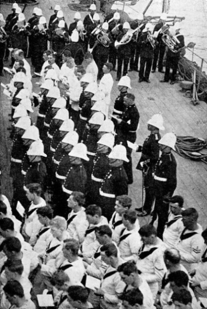 SUNDAY MORNING CHURCH PARADE on board H.M.S. Neptune