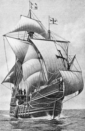THE CARAVEL in which Columbus first sailed across the Atlantic was called the Santa Maria