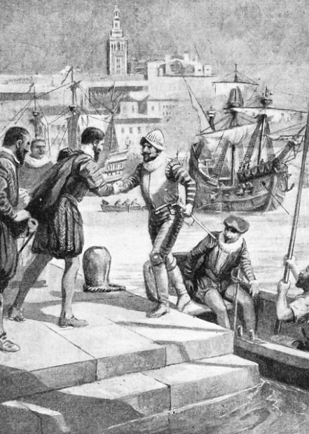 This illustration shows the survivors of Magellan's expedition being officially welcomed at Seville
