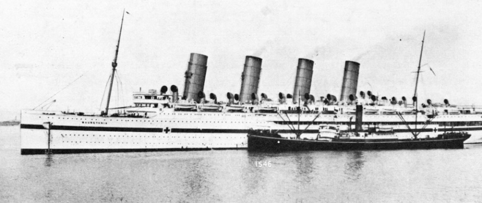 CONVERTED INTO A HOSPITAL SHIP during the war of 1914-18, the Mauretania made three voyages between Southampton and the island of Lemnos