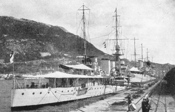 """D"" CLASS CRUISER, H.M.S. Delhi, at Gibraltar"