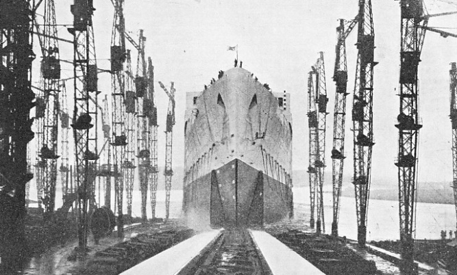 A CRITICAL MOMENT in the launch of a large liner