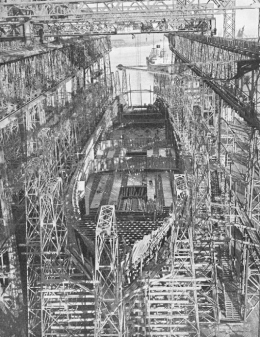 The giant Cunard White Star liner Georgic in course of construction