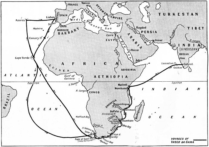 THE DIRECT SEA-ROUTE TO INDIA was unknown until Vasco da Gama rounded the Cape of Good Hope