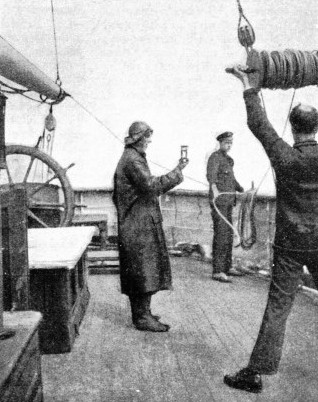 AN EARLY METHOD OF DETERMINING A SHIP'S SPEED was the hand log