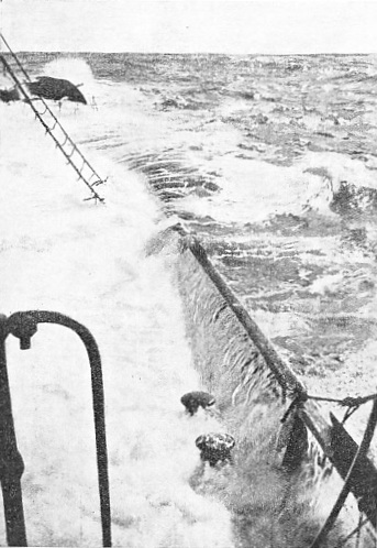 A dramatic photograph taken on board the Q-ship Dunraven after she had been hit by a torpedo