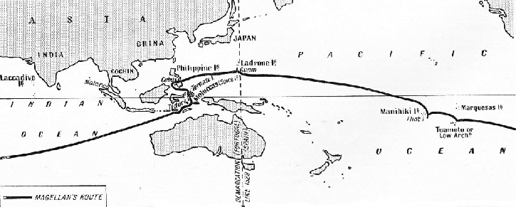 THE COURSE OF MAGELLAN'S EXPEDITION
