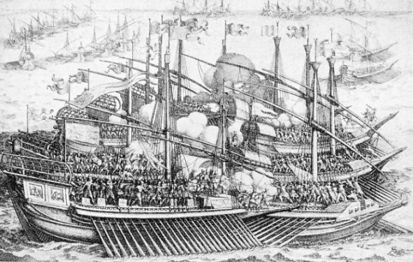 GALLEYS OF SPAIN, VENICE AND THE PAPAL STATES in action against the Turkish fleet